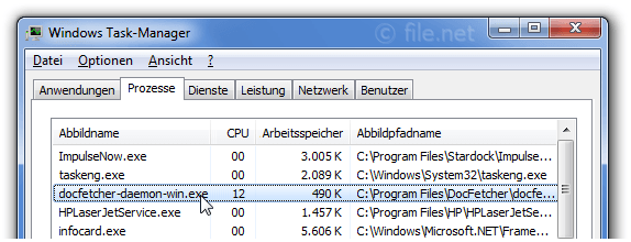 Windows Task-Manager mit docfetcher-daemon-win