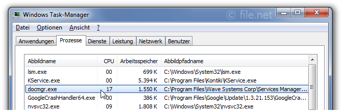 Windows Task-Manager mit docmgr