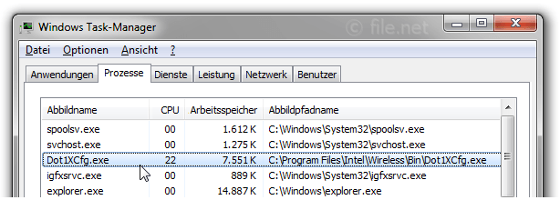 Windows Task-Manager mit Dot1XCfg