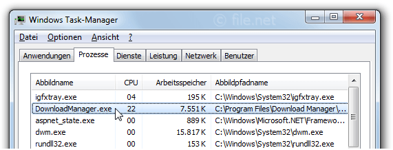 Windows Task-Manager mit DownloadManager