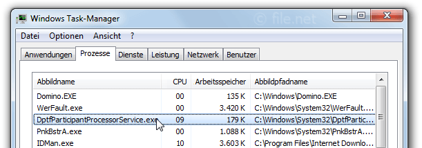 Windows Task-Manager mit DptfParticipantProcessorService