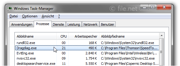 Windows Task-Manager mit Dragdiag