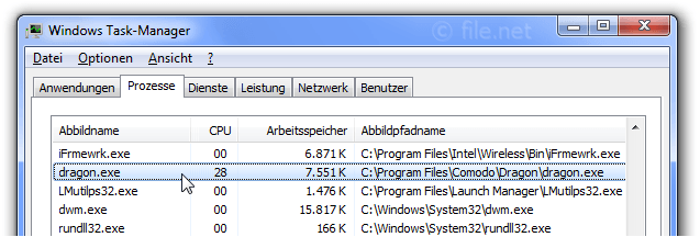 Windows Task-Manager mit dragon