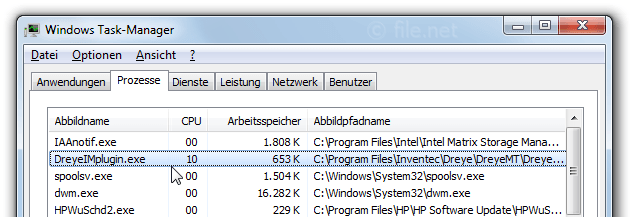 Windows Task-Manager mit DreyeIMplugin