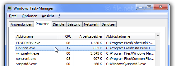 Windows Task-Manager mit DrvIcon
