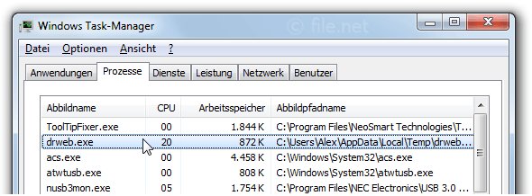Windows Task-Manager mit drweb