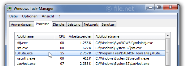 Windows Task-Manager mit DTLite