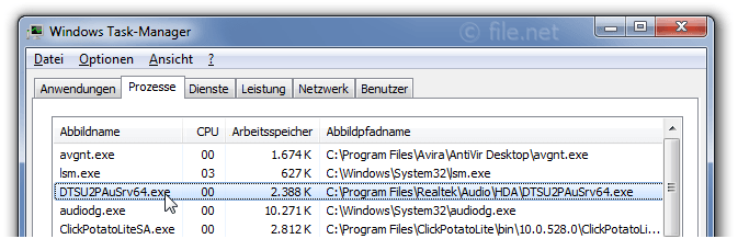 Windows Task-Manager mit DTSU2PAuSrv64
