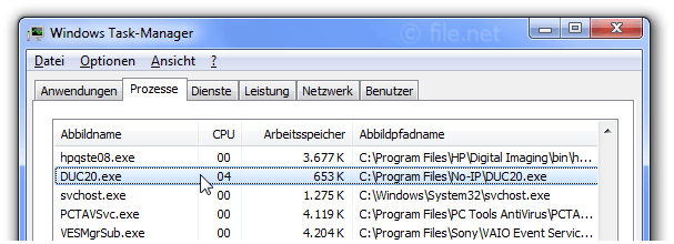 Windows Task-Manager mit DUC20