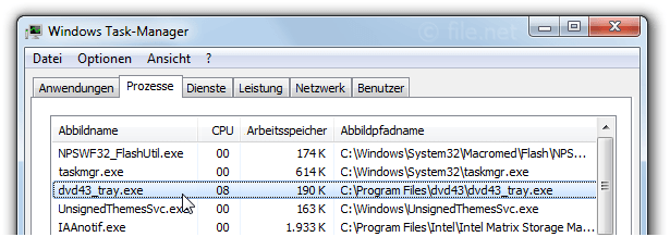 Windows Task-Manager mit dvd43_tray
