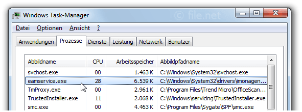 Windows Task-Manager mit eamservice