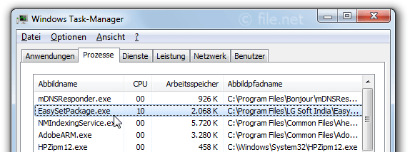Windows Task-Manager mit EasySetPackage