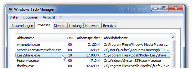 Windows Task-Manager mit EasyShare