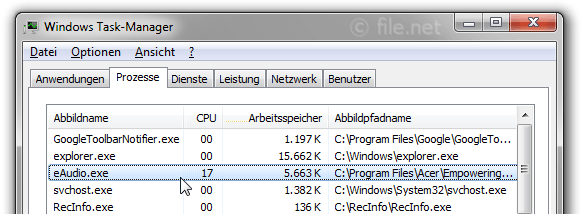 Windows Task-Manager mit eAudio
