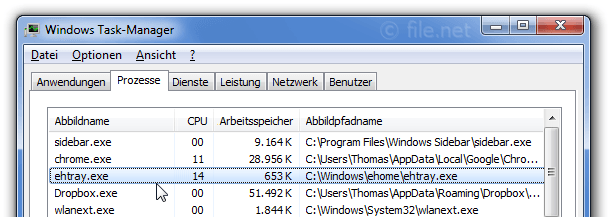 Windows Task-Manager mit ehtray
