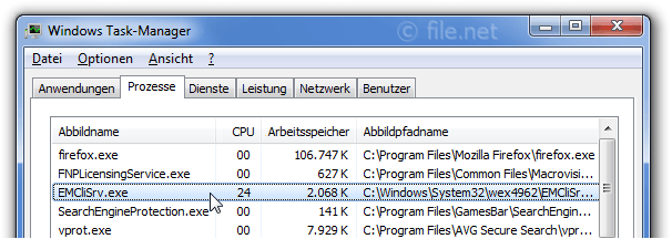 Windows Task-Manager mit EMCliSrv
