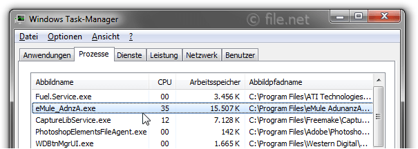 Windows Task-Manager mit eMule_AdnzA
