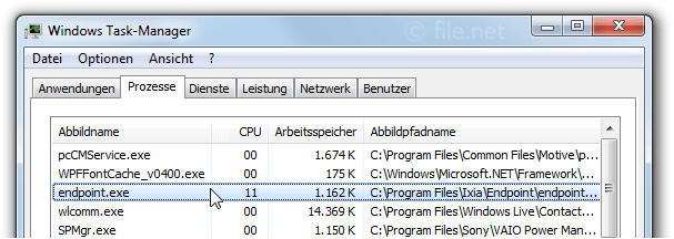Windows Task-Manager mit endpoint
