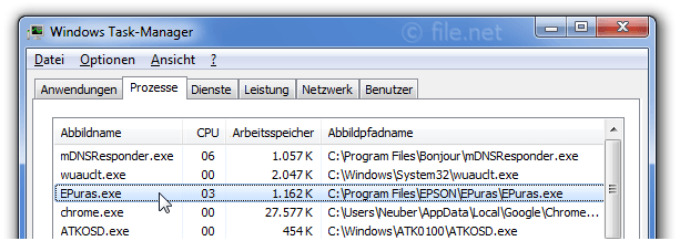 Windows Task-Manager mit EPuras