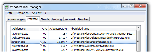 Windows Task-Manager mit Eraser