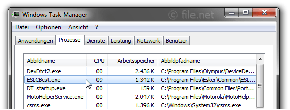 Windows Task-Manager mit ESLCBcst