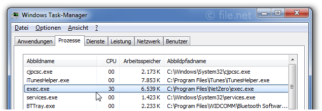 Windows Task-Manager mit exec