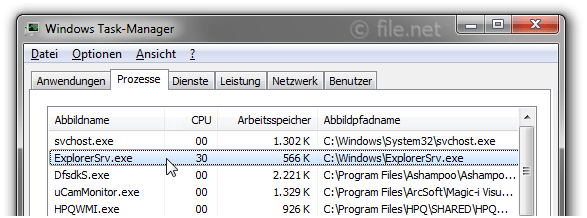 Windows Task-Manager mit ExplorerSrv