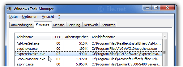 Windows Task-Manager mit expressinvoice