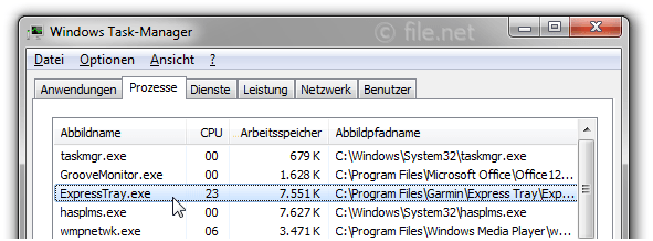 Windows Task-Manager mit ExpressTray