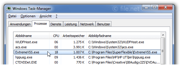 Windows Task-Manager mit ExtremeVSS