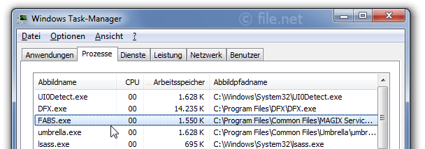 Windows Task-Manager mit FABS