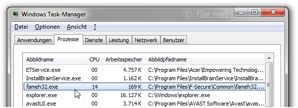 Windows Task-Manager mit fameh32