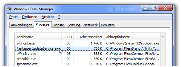 Windows Task-Manager mit FantapperUpdateService