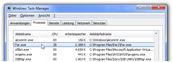 Windows Task-Manager mit Far