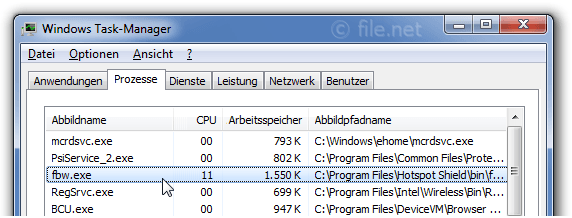 Windows Task-Manager mit fbw
