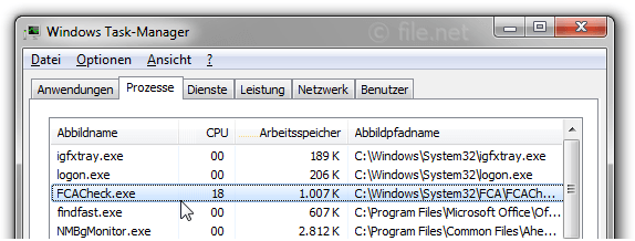 Windows Task-Manager mit FCACheck