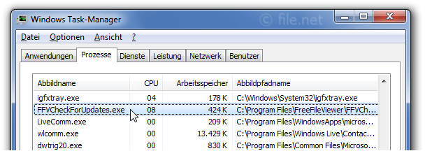 Windows Task-Manager mit FFVCheckForUpdates