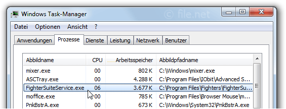 Windows Task-Manager mit FighterSuiteService