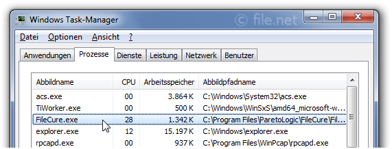 Windows Task-Manager mit FileCure