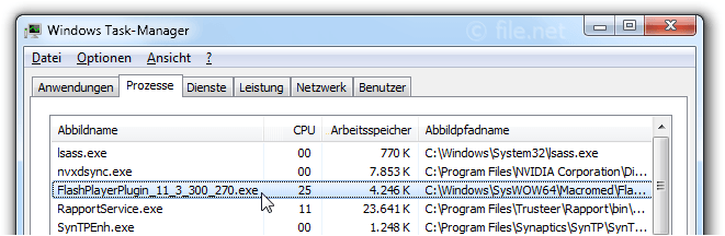 Windows Task-Manager mit FlashPlayerPlugin_11_3_300_270