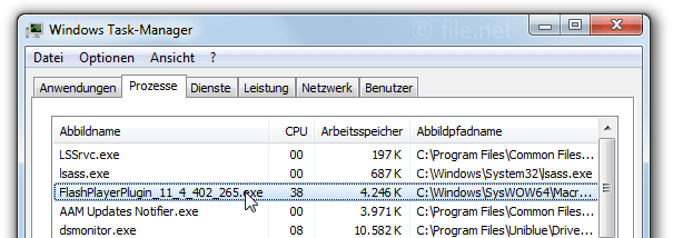 Windows Task-Manager mit FlashPlayerPlugin_11_4_402_265