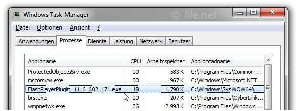 Windows Task-Manager mit FlashPlayerPlugin_11_6_602_171