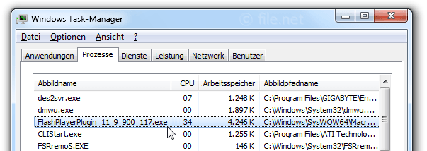 Windows Task-Manager mit FlashPlayerPlugin_11_9_900_117