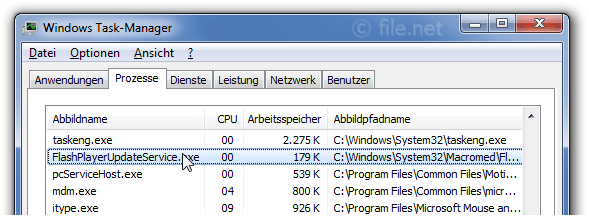 Windows Task-Manager mit FlashPlayerUpdateService