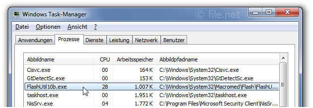 Windows Task-Manager mit FlashUtil10b
