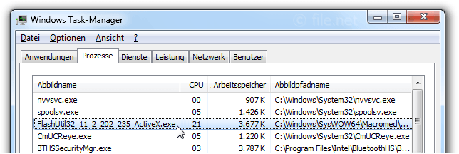Windows Task-Manager mit FlashUtil32_11_2_202_235_ActiveX