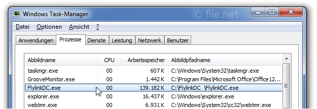 Windows Task-Manager mit FlylinkDC