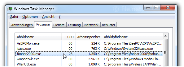 Windows Task-Manager mit foobar2000