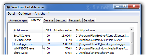 Windows Task-Manager mit freeklogger