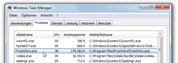 Windows Task-Manager mit FrostWire